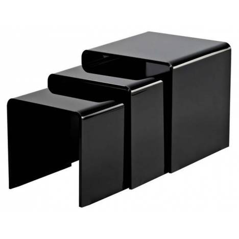 table basse gigogne en verre noir laqu. Black Bedroom Furniture Sets. Home Design Ideas