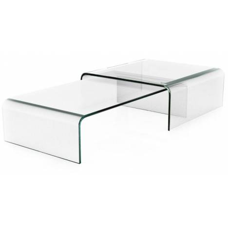 Table basse gigogne en verre design haut de gamme bady for Table basse salon verre
