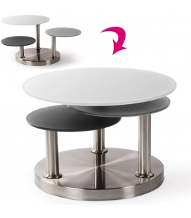 Table basse design italien en verre tremp et acier chrom bayes - Table basse relevable design italien ...