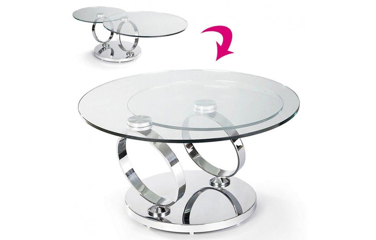 table basse en verre tremp avec plateaux rotatifs basila. Black Bedroom Furniture Sets. Home Design Ideas