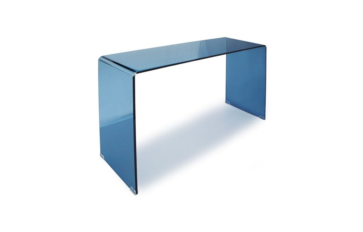 console design en verre bleu 90 ou 110 cm berily decome. Black Bedroom Furniture Sets. Home Design Ideas