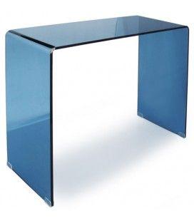 Console design en verre bleu 90 ou 110 cm Berily