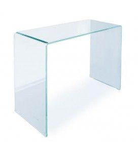 Console design en verre transparent 90 ou 110 cm Berily