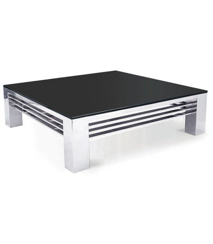 table basse haut de gamme verre noir et acier inox miroir achille. Black Bedroom Furniture Sets. Home Design Ideas