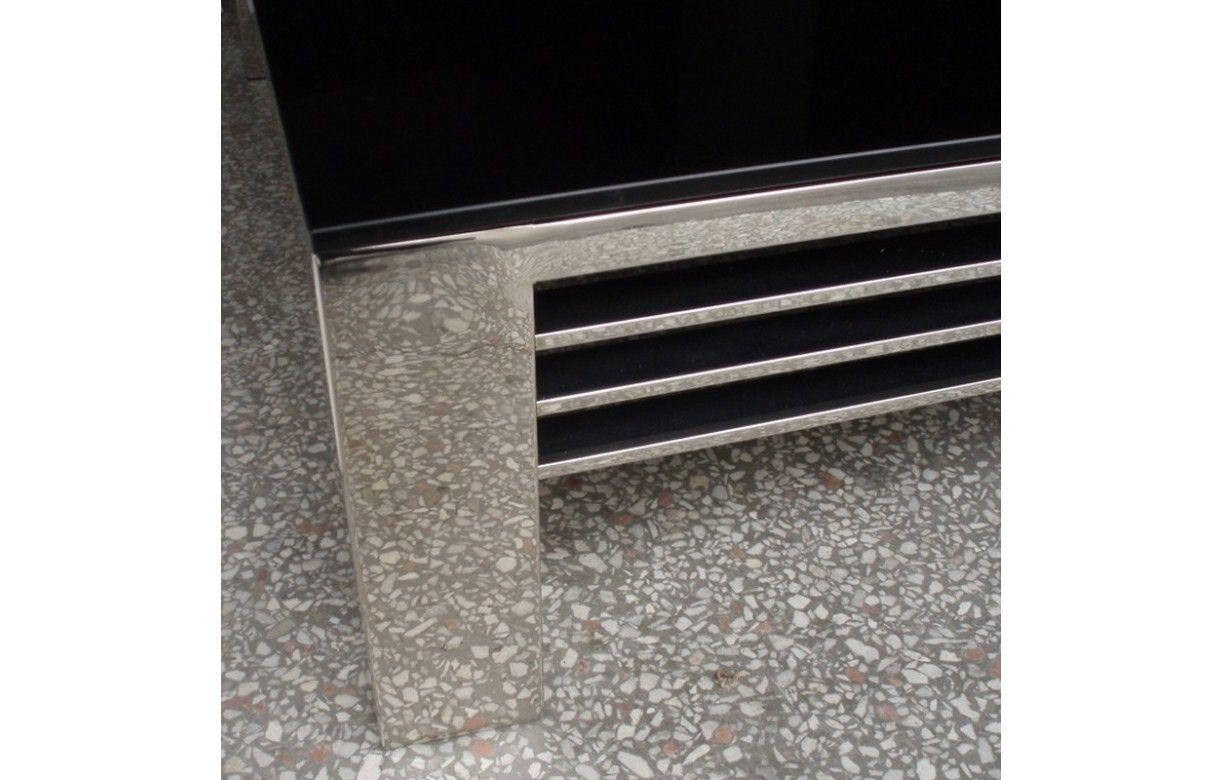 table basse haut de gamme verre noir et acier inox miroir. Black Bedroom Furniture Sets. Home Design Ideas
