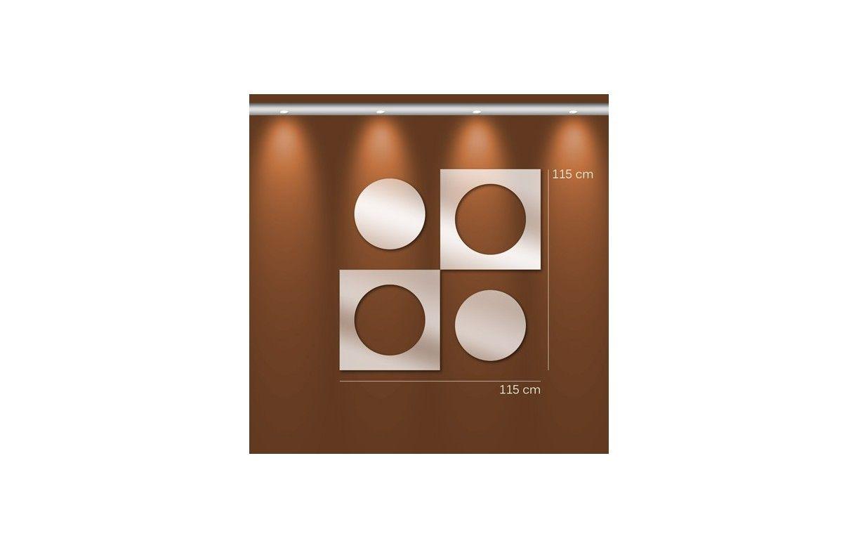Miroir design rond et carr imbriqu en double 3 for Miroir 3 parties