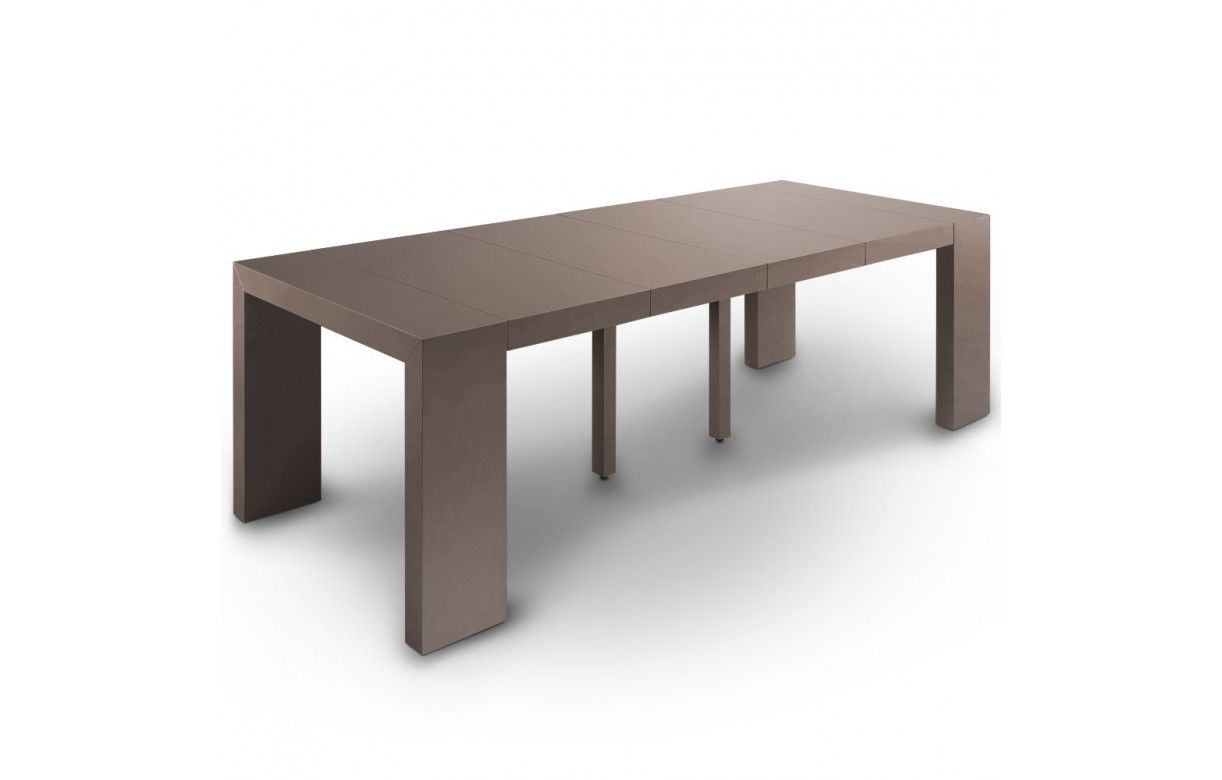Table console extensible effet b ton for Table extensible 18 couverts