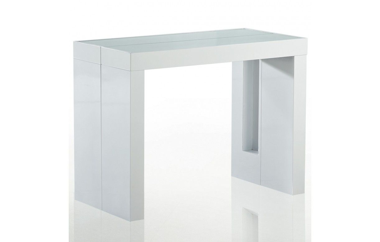 Table laque blanche avec rallonge table design avec - Table console extensible blanc laque design ...