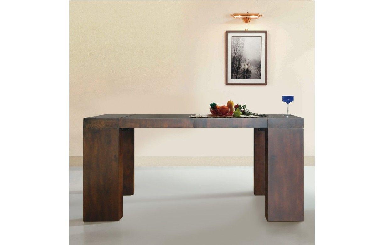 Table console extensible en bois massif 12 couverts Woodini 5 coloris Decome Store # Console Extensible En Bois Massif