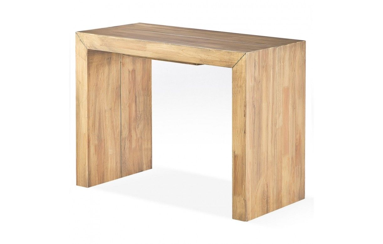 Console table extensible for Table bois massif extensible