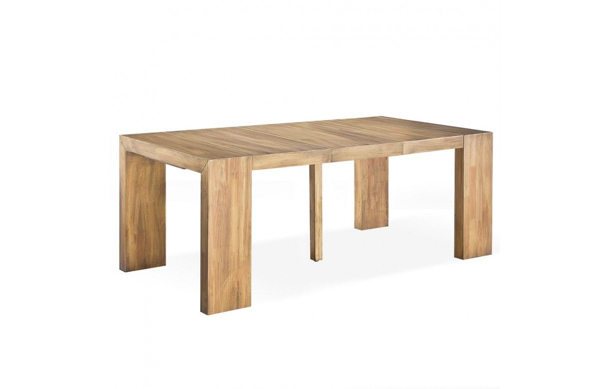 Table console extensible en bois massif 12 couverts for Table en bois extensible