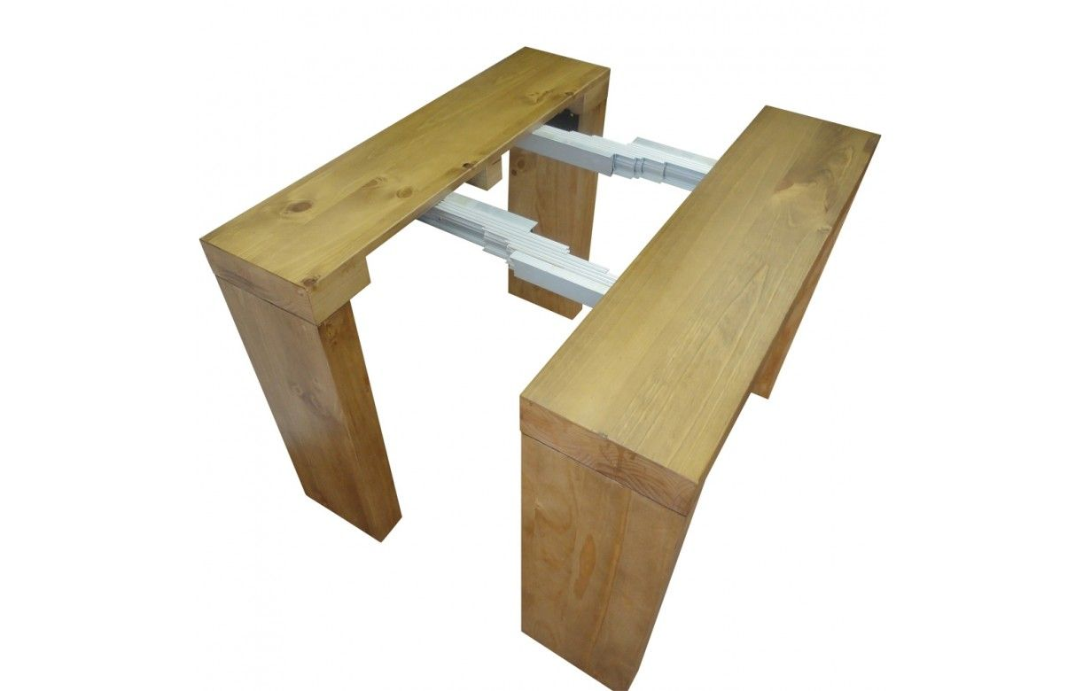 Table console extensible en bois massif 12 couverts for Table bois massif