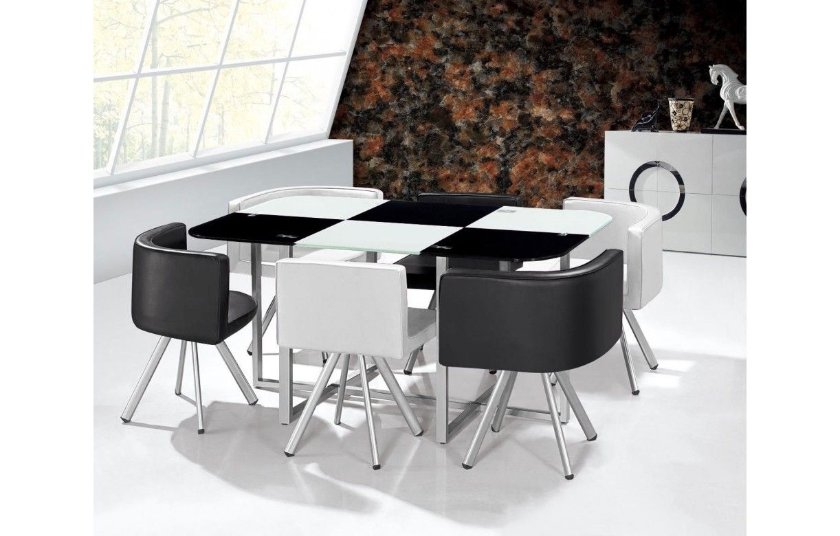 Ensemble table et 6 chaises encastrables en simili cuir for Table salle a manger pliable
