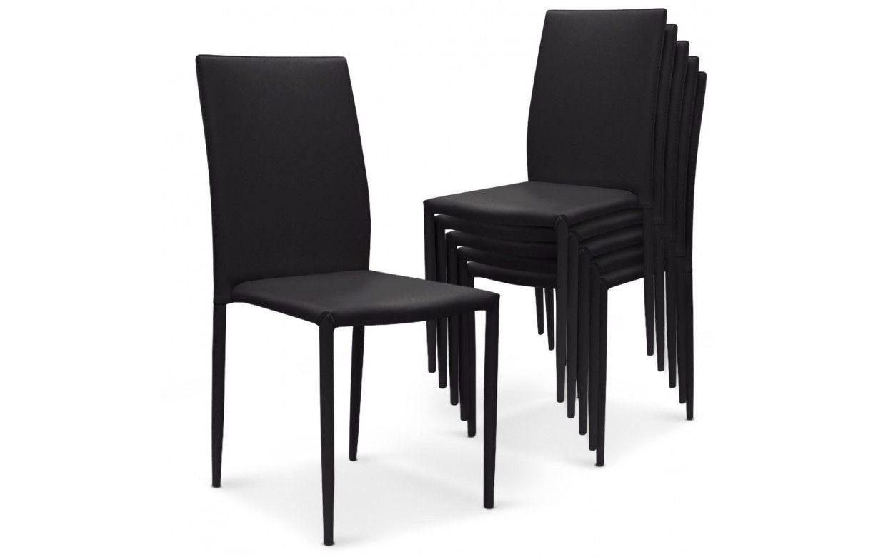lot de 6 chaises empilables en simili cuir modani 4 coloris decome store. Black Bedroom Furniture Sets. Home Design Ideas