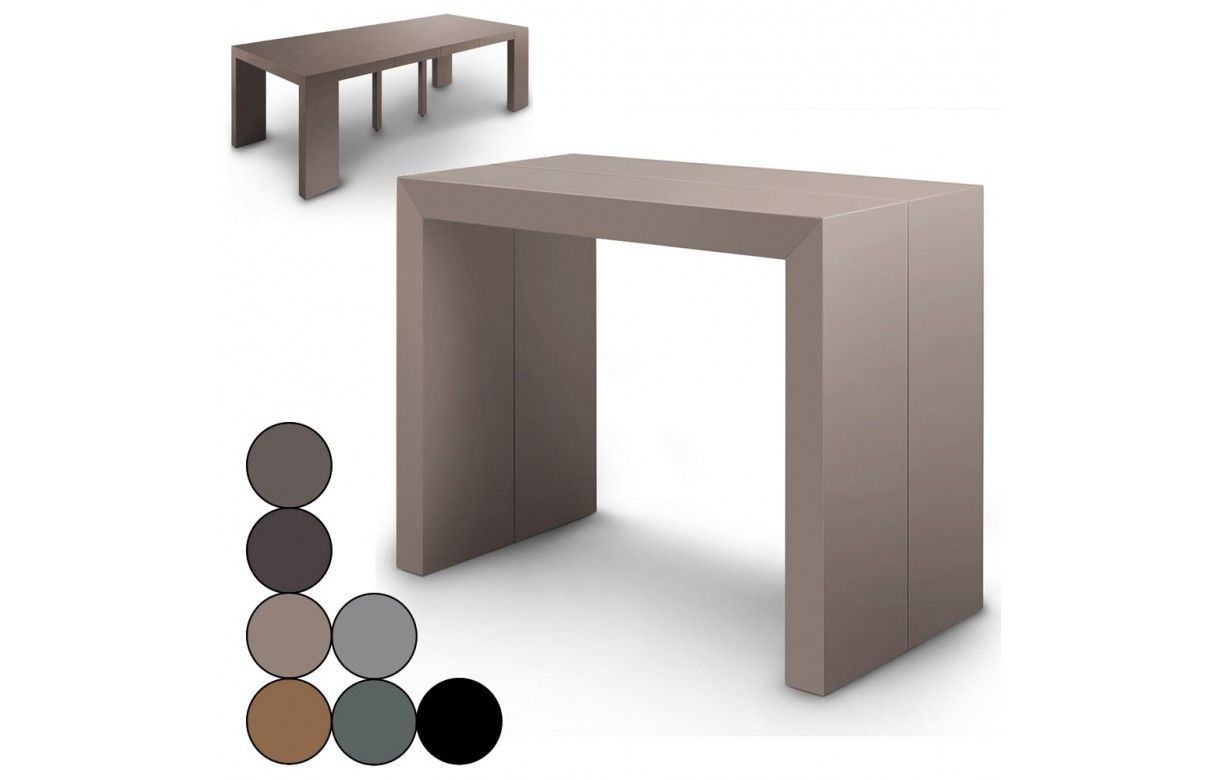 Table console extensible effet b ton for Table blanche extensible 12 personnes