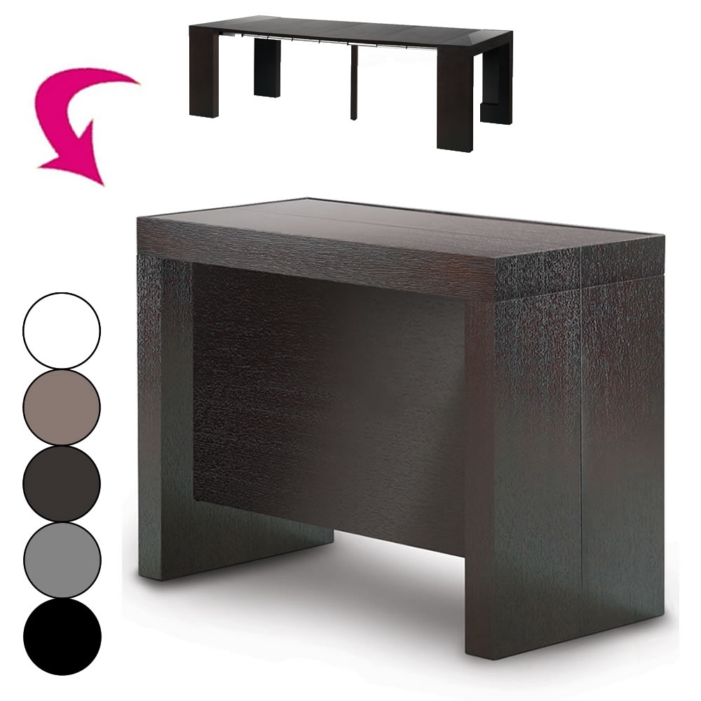 Table a rallonge console maison design for Table noir rallonge