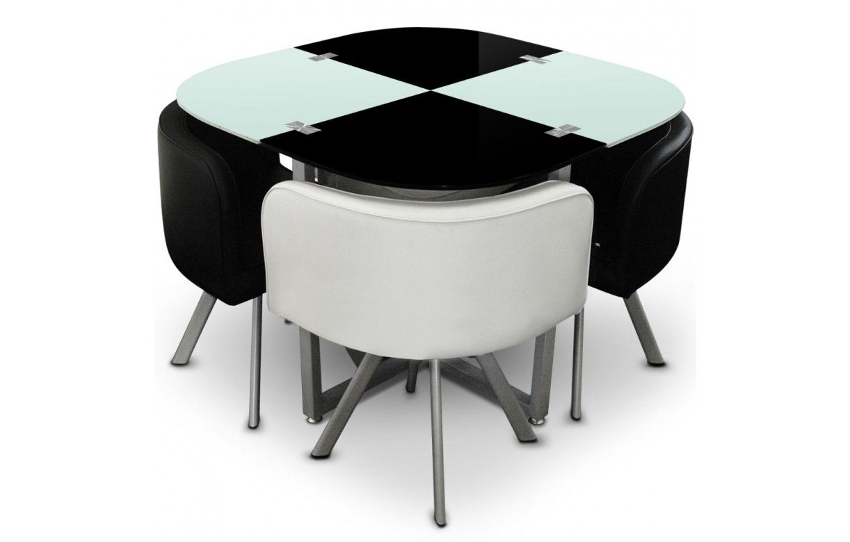 table en verre et 4 chaises encastrables bicolore 5 coloris decome store. Black Bedroom Furniture Sets. Home Design Ideas