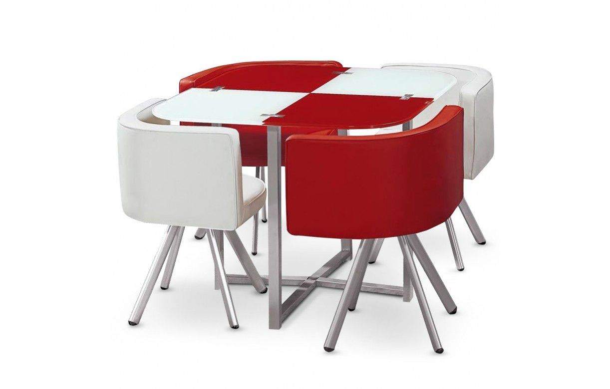 Table en verre et 4 chaises encastrables bicolore 5 coloris decome store for Chaise et table de cuisine