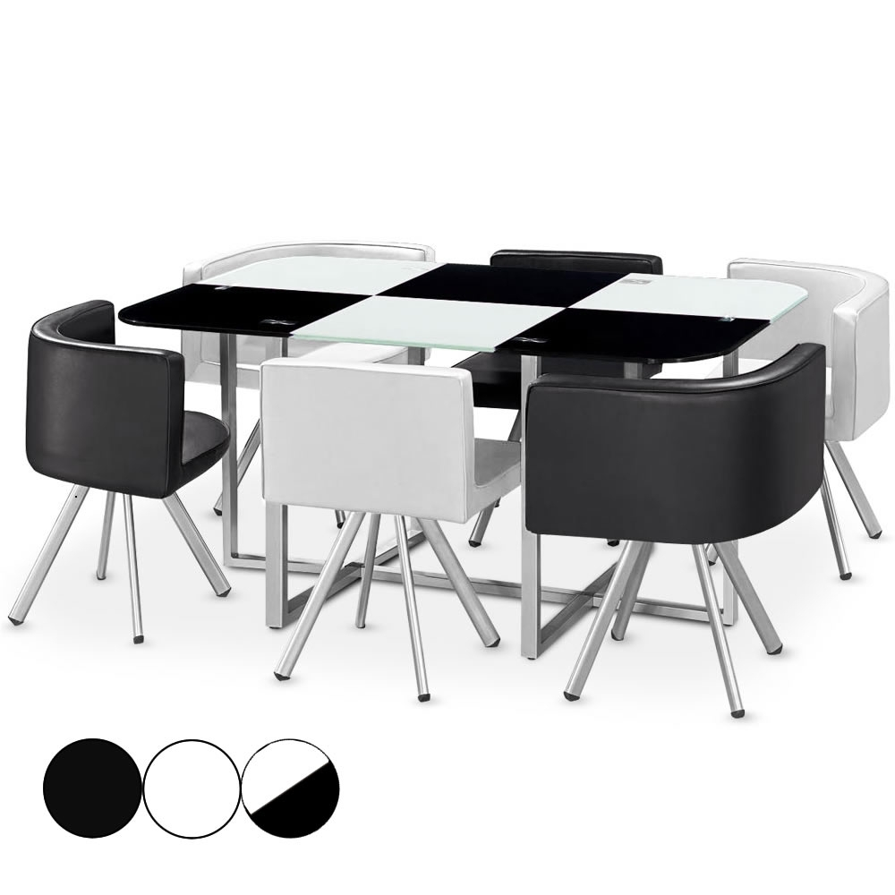 Table encastrable for Table en verre 6 chaises