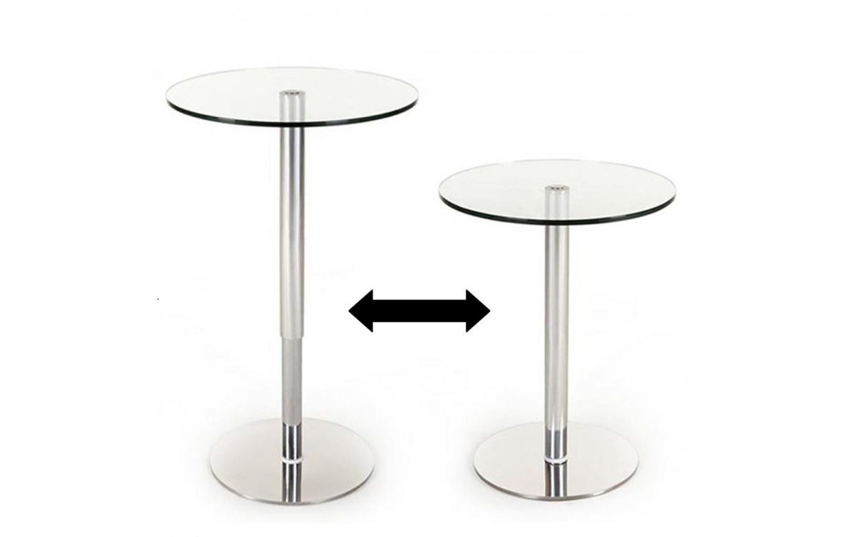Table de bar en verre r glable en hauteur - Table de bar en verre ...