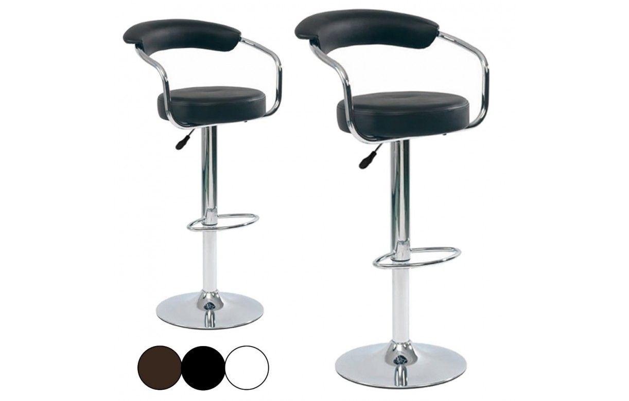Tabouret de bar cavalier en simili cuir lot de 2 - Tabouret de bar chocolat ...