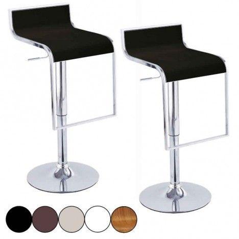 set de 2 tabourets de bar noir design chrome et simili. Black Bedroom Furniture Sets. Home Design Ideas