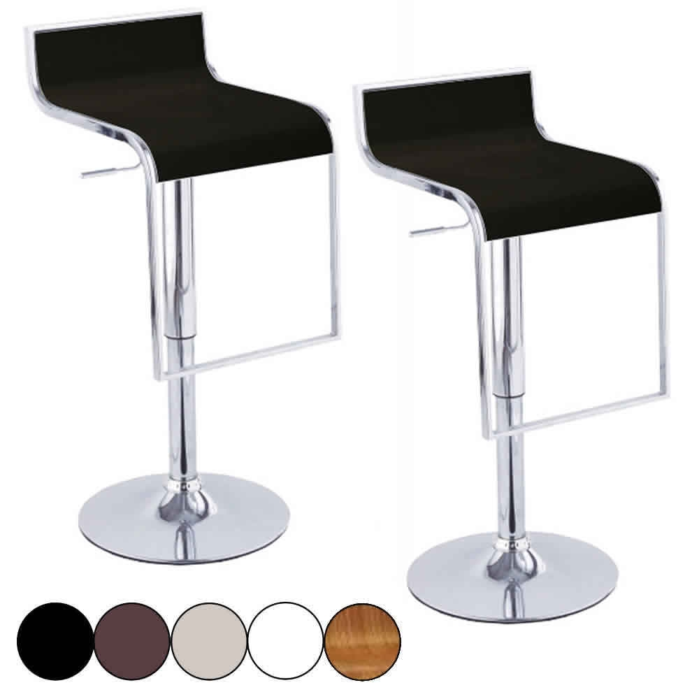 Set de tabourets de bar noir design chrome et simili cuir - Chaise en cuir veritable ...