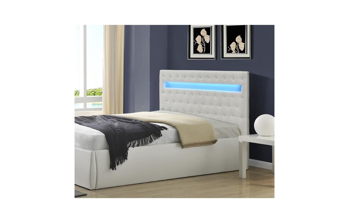 t te de lit simili cuir blanc 140 cm avec bande led light. Black Bedroom Furniture Sets. Home Design Ideas