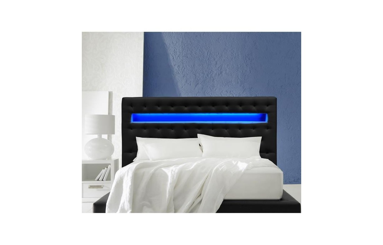 T te de lit simili cuir noir 160 cm avec bande led light decome store - Tete de lit simili cuir 160 ...