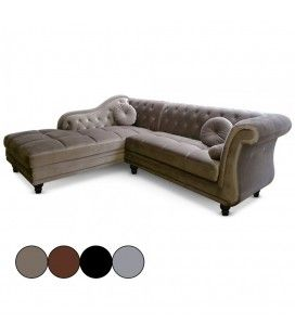 Canapé d'angle à gauche en velours Taupe Chesterfield - 3 coloris