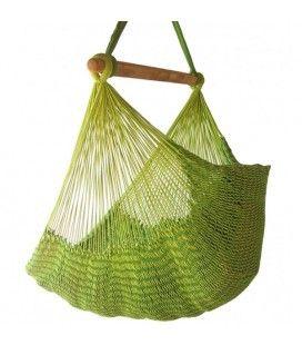 Hamac chaise mexicain vert en tissu 100% coton