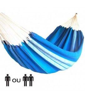 Hamac une ou deux places 100% coton bleu rayé artisanal