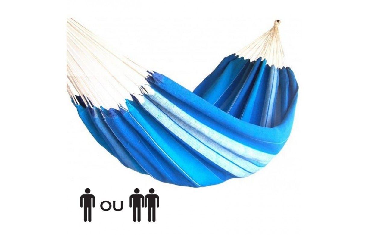 hamac une ou deux places 100 coton bleu ray artisanal. Black Bedroom Furniture Sets. Home Design Ideas