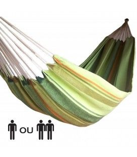Hamac simple avec rayures vertes 100% coton