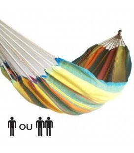 Hamac multicolore en tissu 100% coton pour une ou deux personnes