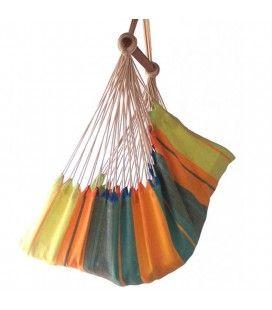 Hamac chaise multicolore avec filet 100% coton
