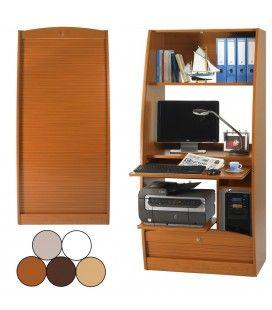 Armoire secrétaire informatique à rideau déroulant Largeur 80cm - 5 coloris