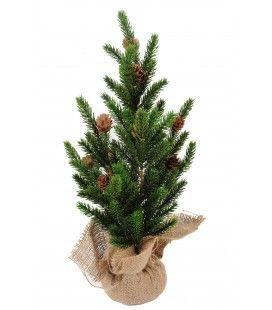 Petit sapin de Noël artificiel dans sa botte 60 cm