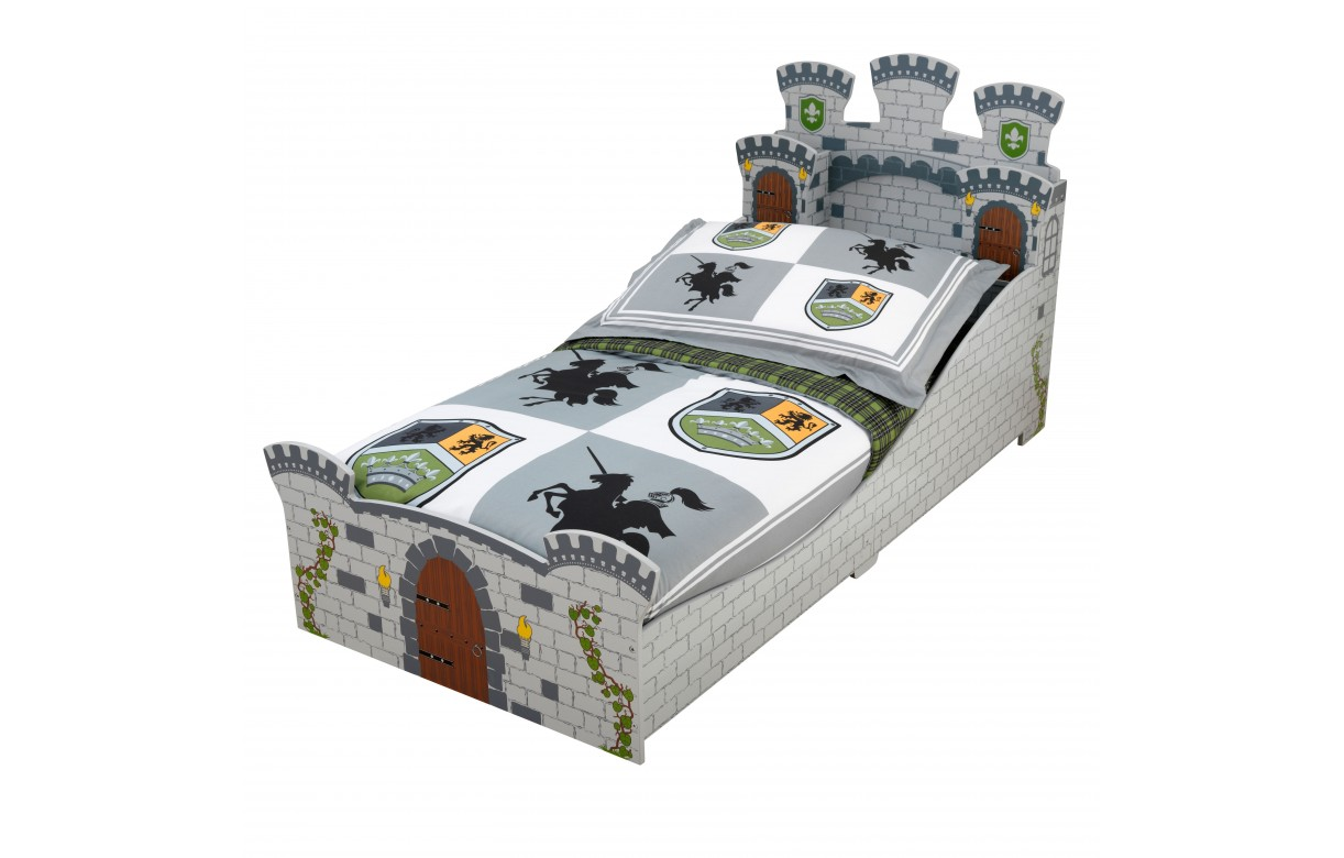 lit enfant chateau fort gris pour petit garcon decome store. Black Bedroom Furniture Sets. Home Design Ideas