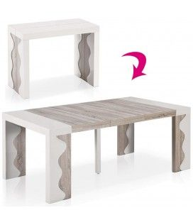 Table console extensible 10 couverts ivoire et chene Ariala