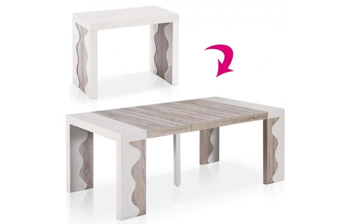 Table console extensible 10 couverts ivoire et chene for Table de salle a manger 15 couverts