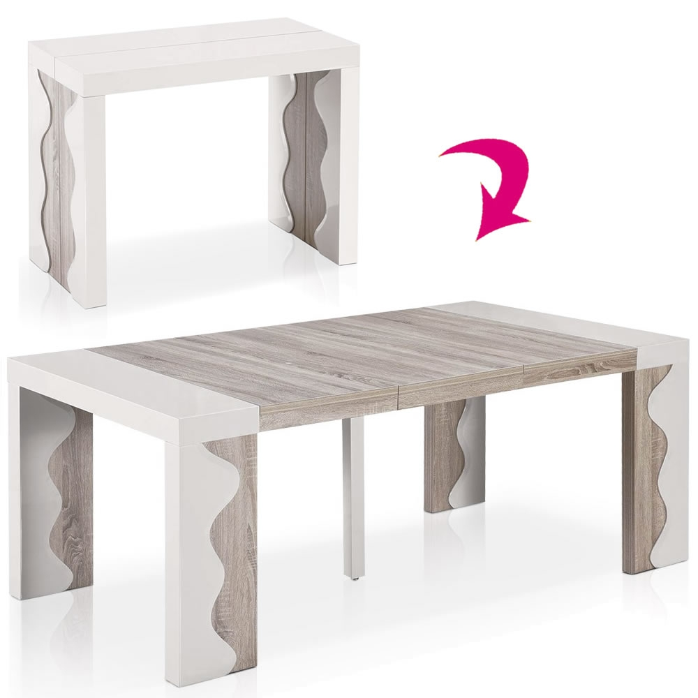 Table bois extensible for Table a manger ronde extensible
