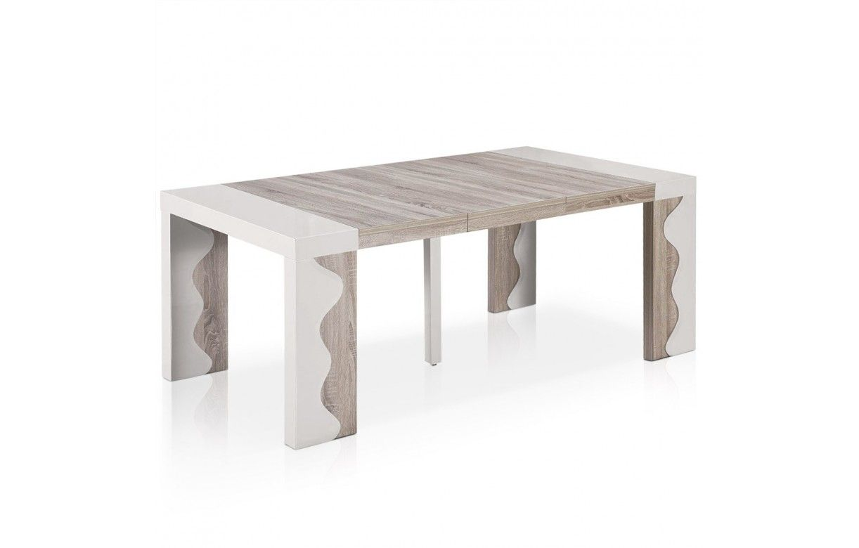 Table console extensible 10 couverts ivoire et chene for Table extensible blanc et bois