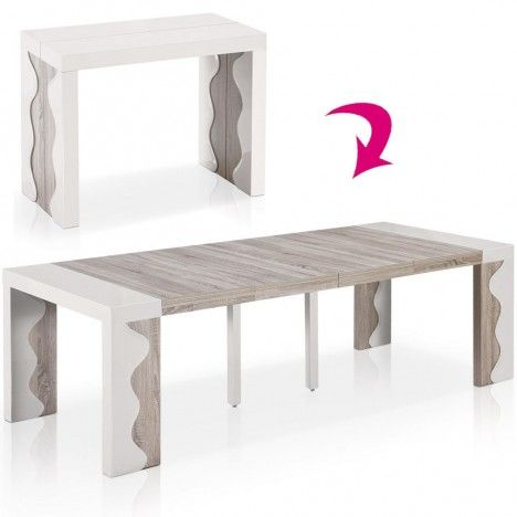 Table console extensible 12 couverts ivoire et chene for Table a manger 12 couverts