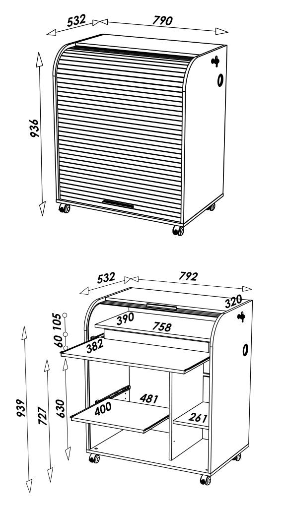 Bureau pour ordinateur rideau d roulant drapeau usa for Meuble ordinateur ferme