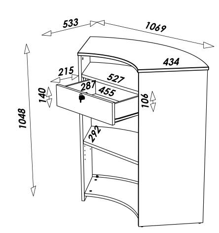 Comptoir de cuisine bar design blanc ou noir tiroir for Hauteur d un bar de cuisine