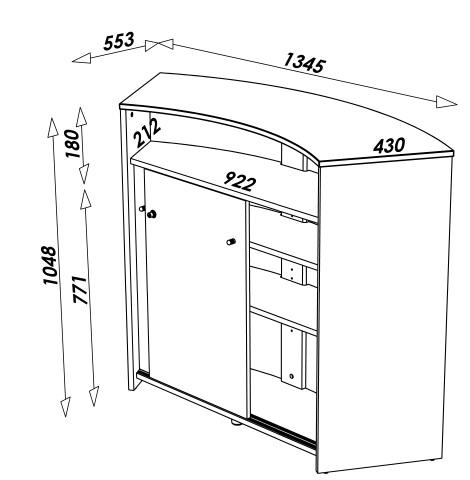 comptoir de bar blanc design 134cm double porte decome. Black Bedroom Furniture Sets. Home Design Ideas
