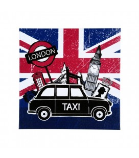 Toile Imprimé London 28 X 28 cm London Taxi Noir
