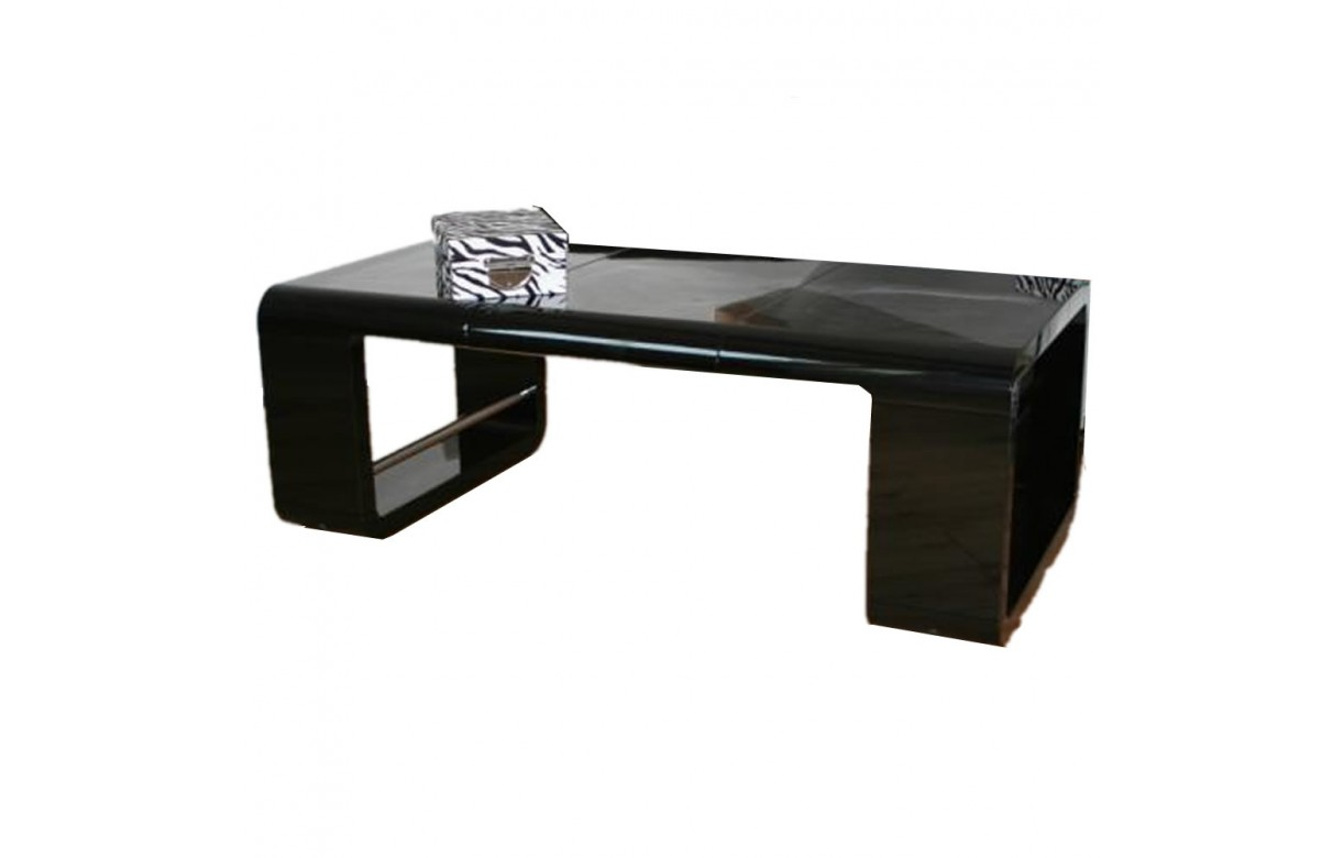 Table basse noir brillant avec rallonge ehop decome store - Table basse relevable avec rallonge ...