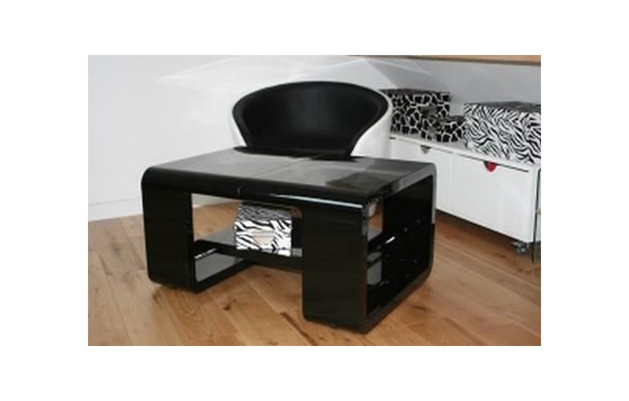 Table basse noir brillant avec rallonge ehop decome store for Table rallonge noire